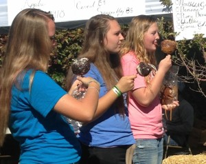 Teens enjoy carmel apples sold at the New Harmony Apple Festival, New Harmony, Utah, Oct. 11, 2014 | Photo by Holly Coombs, St. George News