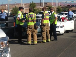 St. George Fire attends to t-bone accident on Dixie Drive and Black Ridge Drive intersection, St. George, Utah, Oct. 14, 2014 | Photo by Holly Coombs, St. George News