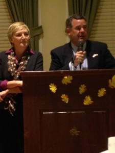 St. George Mayor Jon Pike and his wife, Kristy Pike, speak at the St. George Book Festival charity banquet, St. George Children's Museum, St. George, Utah, Oct. 24, 2014    Photo by Holly Coombs, St. George News