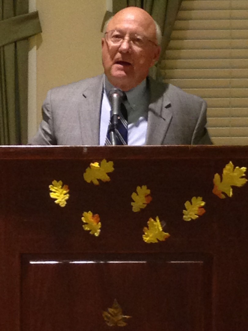 Author Dean Hughes delivers the keynote address at the St. George Book Festival charity dinner, St. George Children's Museum, St. George, Utah, Oct. 24, 2014  | Photo by Holly Coombs, St. George News