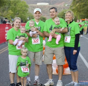 Mayor Jon Pike and wife, Kristy take a picture with triplets and parents who participated in Mayor's Walk, St. George, Utah, October 4, 2014   Photo by Samantha Tommer, St. George News