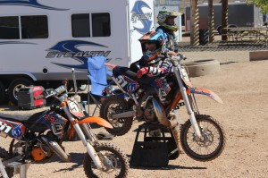 Jackson Glathar leans agains his bike for a breather after a practice run at the SGMX track in St. George on Oct. 5, 2014   Photo by Devan Chavez, St. George News