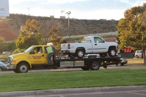 The white Chevy truck involved in the accident at the intersection of Red Cliffs Drive and 1680 East on Oct. 9, 2014 | Photo by Devan Chavez, St. George News