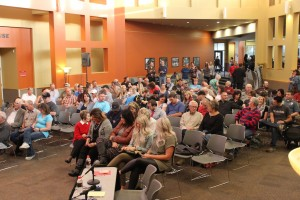 Over 220 community members gather in the Living Room at SUU at a debate for Iron County Sheriff  on Oct. 23, 2014 | Photo by Devan Chavez, St. George News