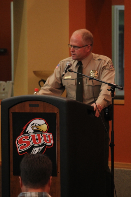 Sheriff Mark Gower makes a comment on what values he considers important during a debate for Iron County Sheriff at SUU on Oct. 23, 2014 | Photo by Devan Chavez, St. George News