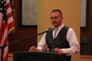 Sgt. Dave McIntyre speaks on the downfalls of moving to a private ambulance service in a debate for Iron County Sheriff at SUU on Oct. 23, 2014 | Photo by Devan Chavez, St. George News
