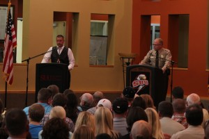 Sgt. Dave McIntyre (left) faces off against Sheriff Mark Gower (right) in a debate for Iron County Sheriff at SUU on Oct. 23, 2014 | Photo by Devan Chavez, St. George News