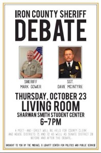 Event flyer for the debate between Mark Gower and Dave McIntyre for Iron County Sheriff on Oct. 23, 2014 | Photo courtesy of the Michael O. Leavitt Center, St. George News