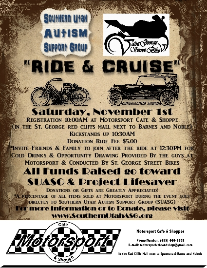 Southern Utah Autism Support Group, Ride & Cruise event | Flier courtesy of Southern Utah Autism Support Group, St. George News | Click on image to enlarge