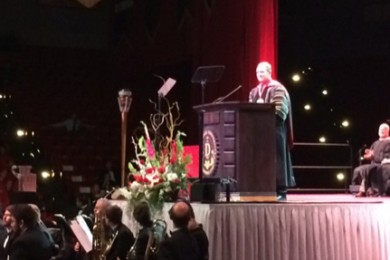 "Dr. Richard ""Biff"" Williams speaks at his presidential inauguration ceremony, M. Anthony Burns Arena, Dixie State University, St. George, Utah, Oct. 23, 2014 