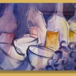 """Wine Glasses"" watercolor by John Mangels, Southern Utah 