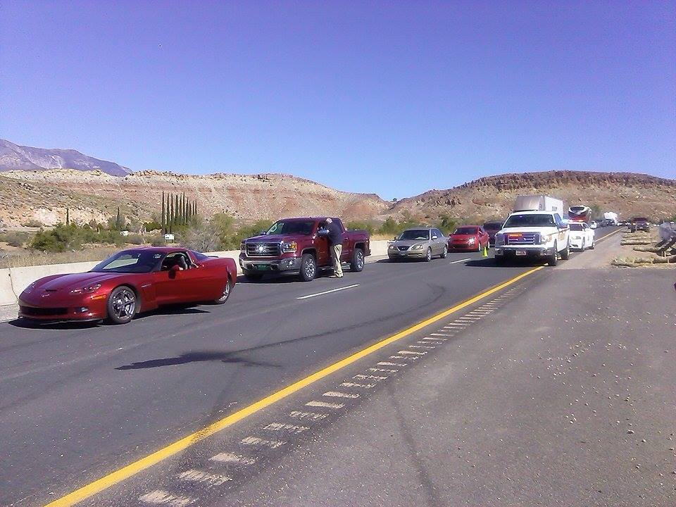 Southbound traffic stopped on I-15 near milepost 22, Leeds, Utah, Oct. 5, 2014 | Photo by Aspen Stoddard, St. George News