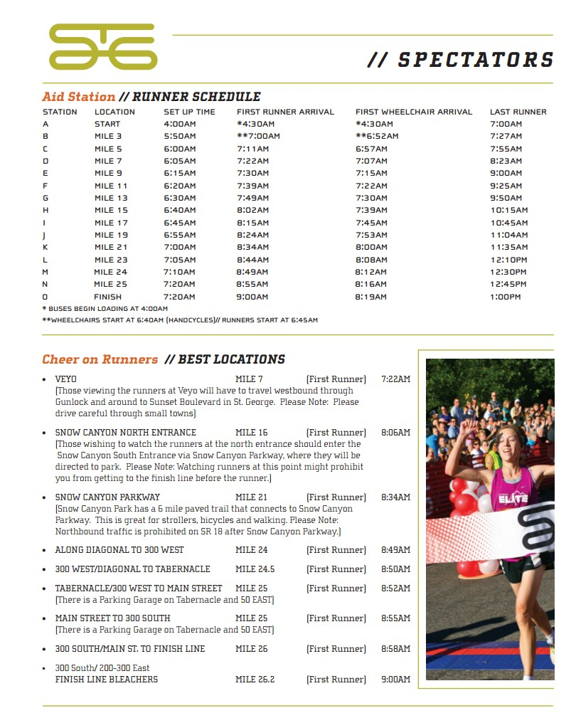 Aid station schedule and best locations to cheer on the runners  | Graphic courtesy of the City of St. George