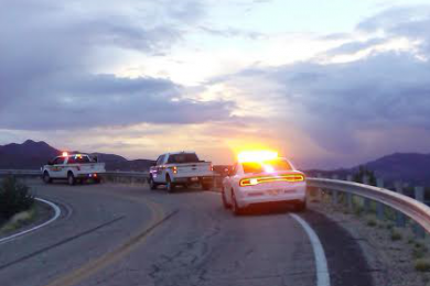 Utah Highway Patrol and Washington County Sheriff's Office vehicles sit on the road where the incident occurred, Utah, Oct. 18, 2014 | Photo by Aspen Stoddard, St. George News