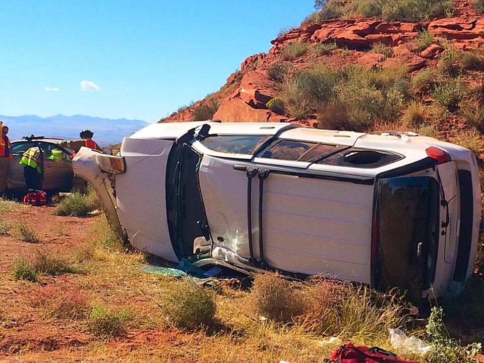 A SUV travelling southbound on Interstate 15 collided with another vehicle and rolled near milepost 14, Washington, Utah, Oct. 20, 2014   Photo by Kimberly Scott, St. George News