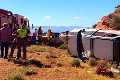 A SUV travelling southbound on Interstate 15 collided with another vehicle and rolled near milepost 14, Washington, Utah, Oct. 20, 2014 | Photo by Kimberly Scott, St. George News