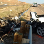 The remains of a Corvette after a fatal crash on state Route 7 just west of River Road, St. George, Utah, Oct. 25, 2014 | Photo courtesy of Utah Highway Patrol, St. George News