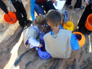 Children enjoy a trick or treat event at the Moccasin Mountain Dinosaur Tracksite, Kanab, Utah, date not specified | Photo courtesy of BLM-Utah Kanab Field Office, St. George News