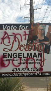Vandalized campaign sign for Dorothy Engelman at 552 N Dixie Drive in St. George. Oct. 18, 2014. | Photo courtesy of Dorothy Engelman, St. George News