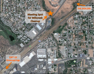 A map of the meeting place for the Millcreek cleanup event | Graphic courtesy of The Boiling Springs Ecoseum & Desert Preserve