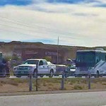 Traffic backs up on Interstate 15 near milepost 4 when a street sweeper meets up with a passenger car, St. George, Utah, Oct. 23, 2014 | Photo by Corbin Wade for KCSG and St. George News