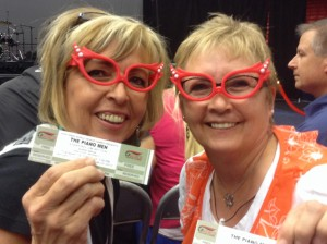 Candy Trapp and Charlotte Deveraux of American Fork are competing in the bowling competition of the Huntsman World Senior Games and came to enjoy the concert and celebration, St. George, Utah, Oct. 14, 2014   Photo by Hollie Reina, St. George News