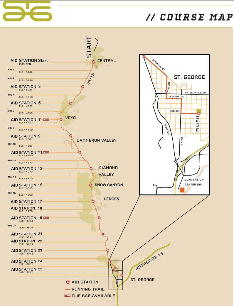 Map of aid stations. Click to enlarge for a clearer image | Graphic courtesy of the City of St. George