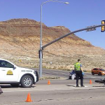 Utah Highway Patrol, Hurricane Police and Hurricane Fire Department respond to the accident that occurred at the intersection of 5300 West and State Street in Hurricane, Utah, Oct. 15, 2014 | Photo by Aspen Stoddard, St. George News