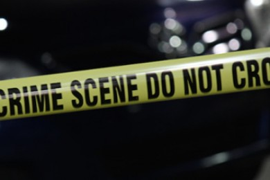 Crime scene tape surrounds a vehicle after a fatal shooting takes place in Cedar City, Utah, Oct. 21, 2014 | Photo by Devan Chavez, St. George News