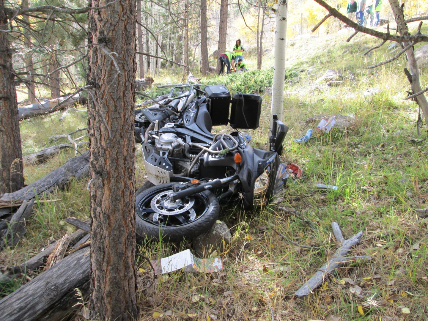 Motorcycle crashes into felled tree on state Route 12 about halfway between Boulder in Garfield County and Torrey in Wayne County, Utah, Oct. 11, 2014 | Photo courtesy of Utah Highway Patrol, St. George News