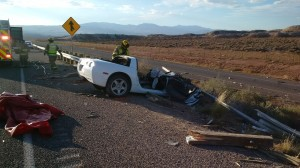 The remains of the Chevy Corvette after the crash that killed Colin D. Wiest, 32, of St. George, on state Route 7 just west of River Road, Utah, Oct. 25, 2014| Photo courtesy of Utah Highway Patrol, St. George News