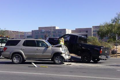 The aftermath of the accident that occurred on River Road just before 700 South, St. George, Utah, Oct. 19, 2014 | Photo by Aspen Stoddard, St. George News