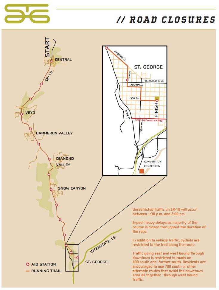 Map of road closures. Click to enlarge for a clearer image | Graphic courtesy of the City of St. George