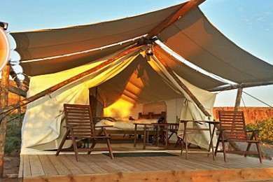 """A """"deluxe"""" tent at Moab's """"glamping"""" resort, Moab Under Canvas, Moab, Utah, Sept. 15, 2014   Photo by Drew Allred, St. George News"""