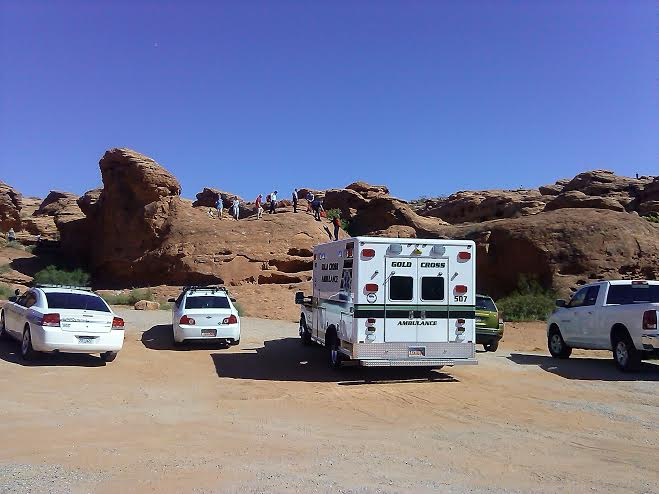 Man rescued from the north end of Dixie Rock in St. George, Utah, Oct. 10, 2014 | Photo by Aspen Stoddard, St. George News