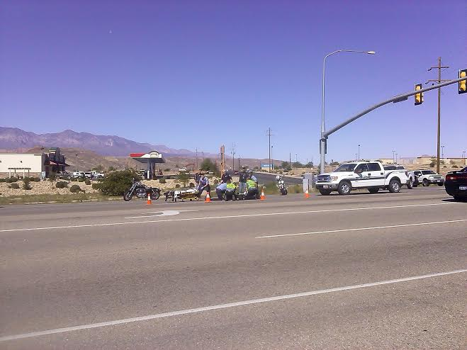 Responders  the scene of the accident that occurred at the intersection of 3400 West and State Street in Hurricane, Utah, Oct. 12, 2014 | Photo by Aspen Stoddard, St. George News