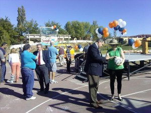 Mayor Joh Pike stands with Youth City Council Advisor Della Jones at the ribbon cutting and United Way Dixie Charity Ball Drop at SwitchPoint located at 948 N. 1300 W. in St. George, Utah, Oct. 24, 2014 | Photo by Aspen Stoddard, St. George News