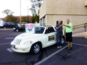 Dale Johnson receives his car at Premier Car and Truck located at  116 W. St. George Boulevard in St. George, Utah, Oct. 24, 2014 | Photo by Aspen Stoddard, St. George News