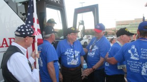 Veterans welcomed home as they are helped off the bus, St. George, Utah, Oct. 2, 2014 | Photo by Mori Kessler, St. George News