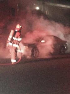 Vehicle fire on River Road, St. George, Utah, Oct. 4, 2014   Photo by Patrick Amico, St. George News