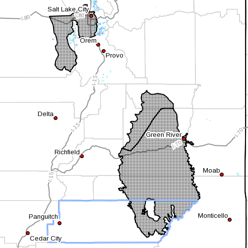 Dots denote affected area at radar time 6:45 p.m., Garfield County, Utah, Oct. 27, 2014 | Image courtesy of the National Weather Service