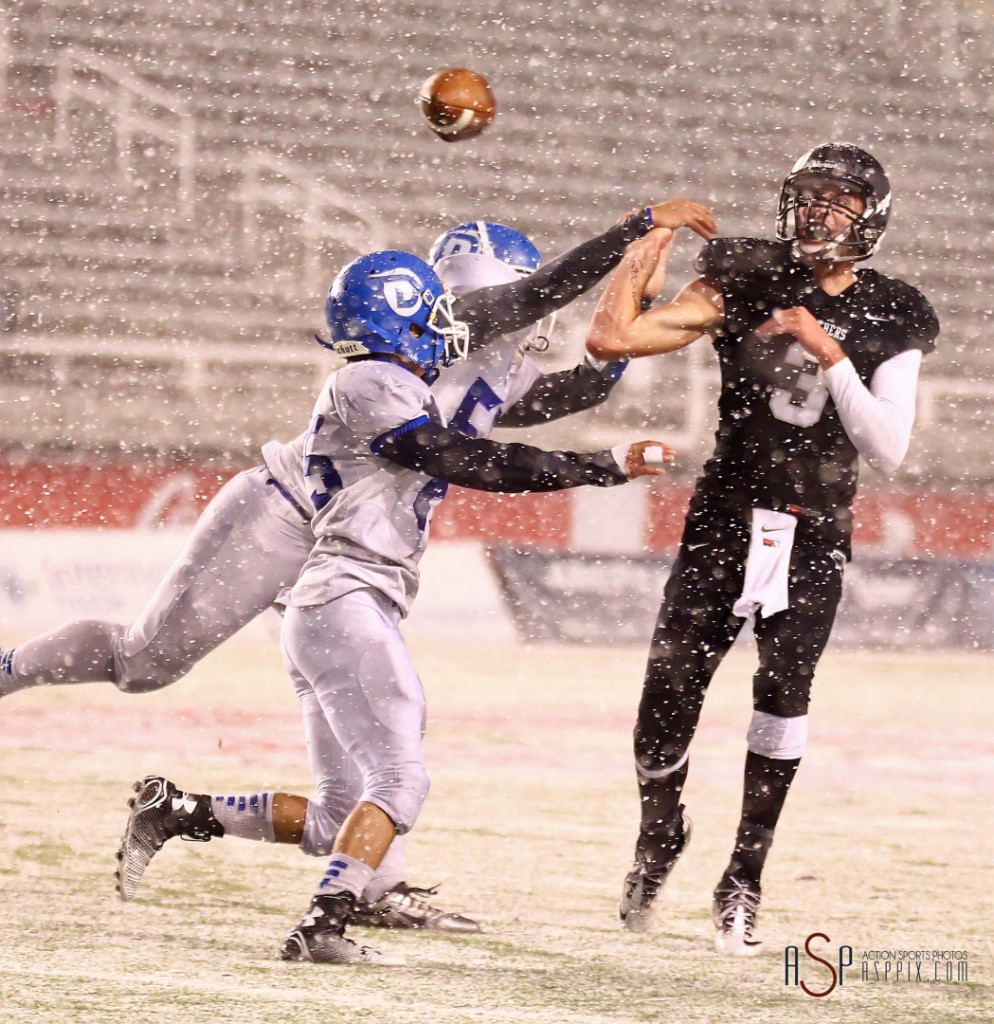 Kody Wilstead (3) has his passed deflected resulting in an interception for the Flyers, Pine View vs. Dixie, 2014 3AA Football Playoffs, Salt Lake City, Utah, Nov. 13, 2014 | Photo by Robert Hoppie, ASPpix.com, St. George News