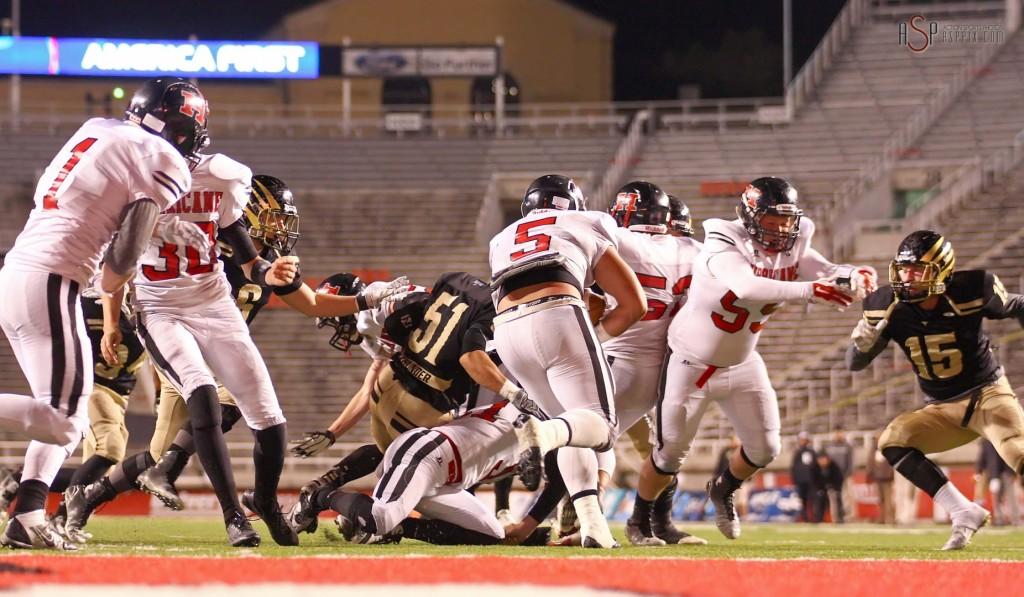 Jeremiah Ieremia (5), with a carry, Desert Hills vs. Hurricane, 2014 3AA Football Playoffs, Salt Lake City, Utah, Nov. 14, 2014 | Photo by Robert Hoppie, ASPpix.com, St. George News