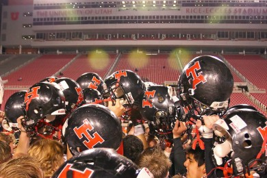 The Hurricane Tigers celebrate their semi-final victory over the Desert Hills Thunder, Desert Hills vs. Hurricane, 2014 3AA Football Playoffs, Salt Lake City, Utah, Nov. 14, 2014 | Photo by Robert Hoppie, ASPpix.com, St. George News