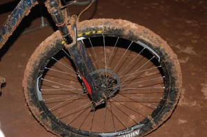 Steady rain caused muddy, soupy conditions on the course which stuck to tires and chewed up gears during the night laps of the 25 Hours in Frog Hollow endurance mountain bike race, Virgin, Utah, Nov. 1, 2014   Photo by Hollie Reina, St. George News