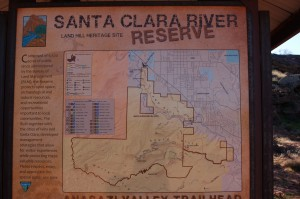 A map of the Santa Clara River Reserve is displayed at the trailhead, Ivins, Utah, Nov. 12, 2014 | Photo by Hollie Reina, St. George News
