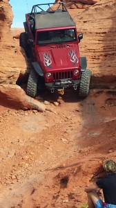 A member of the FMCA 4-Wheelers club drops into a trail at the Sand Mountain OHV area. The off-road club is visiting St. George, Utah, Oct. 31, 2014 | Photo courtesy Kim Pollock, president of FMCA 4-Wheelers.