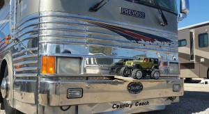 An RV carries a miniature Jeep up front, in addition to the trailered Jeep behind the motorhome. The RV is part of the FMCA 4-Wheelers club visiting St. George, Utah, Oct. 31, 2014 | Photo by Julie Applegate, St. George News.