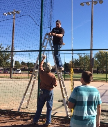 Rotary members and others volunteer to install new futsal court at J.C. Snow Park, 900 South 400 East in St. George, Utah, circa November 2014 | Photo courtesy of Linda Sappington, St. George News