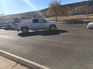 Results of an accident on Main Street in St. George, Utah, Nov. 25, 2014 | Photo by Brett Brostrom, St. George News